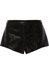 Mason By Michelle Mason Patent Leather Paneled Cady Shorts Black