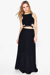 Boohoo Rachel Pleated Chiffon Maxi Skirt Black