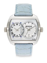 Versus By Versace Dual Time Stainless Steel And Leather Strap Watch Silver Blue