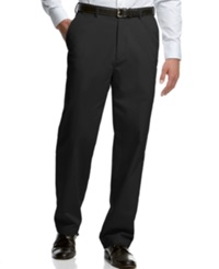 Haggar Classic Fit Microfiber Performance Flat Front Dress Pants Black
