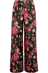 Dolce And Gabbana Floral Print Silk Twill Wide Leg Pants Pink
