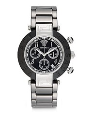 Versace Stainless Steel Ceramic Link Chronograph Bracelet Watch Silver