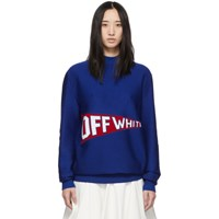 Off White Blue And Red Logo Flag Crewneck Sweater