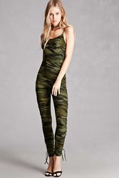 Forever 21 Camo Print Lace Up Jumpsuit Olive Brown