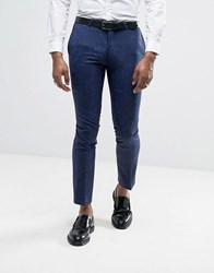 Noose And Monkey Super Skinny Tuxedo Suit Trousers In Paisley Blue