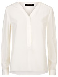 Jaeger Silk Pleated V Neck Blouse Ivory