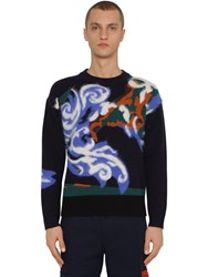 Kenzo Wool And Mohair World Sweater Blue