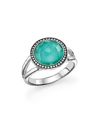 Ippolita Sterling Silver Stella Mini Lollipop Ring In Turquoise Doublet With Diamonds Aqua Silver