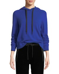 Rag And Bone Yorke Cashmere Mesh Pullover Hoodie Blue