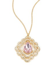 Carolee Spring Bouquet Long Pendant Necklace Gold Pink