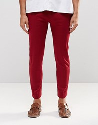 Asos Super Skinny Cropped Trouser In Red Cotton Sateen Red