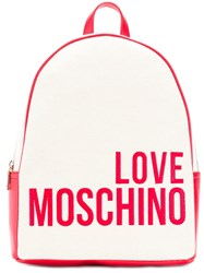 Love Moschino Logo Print Backpack Red