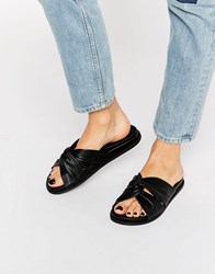 Faith Julie Black Leather Slider Sandals Black Leather