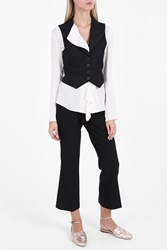 Hillier Bartley Tuxedo Stripe Waistcoat Black