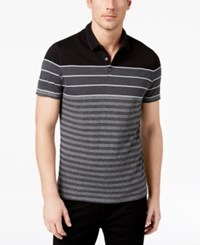 Alfani Men's Colorblocked Textured Stripe Polo Created For Macy's Charcoal Grey Heather