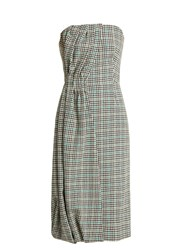 Prada Houndstooth Checked Wool Blend Strapless Dress Green Multi