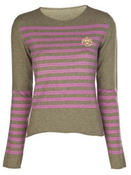 Lucien Pellat Finet Lucien Pellat Finet Prep Stripe Embroidered Sweater Green