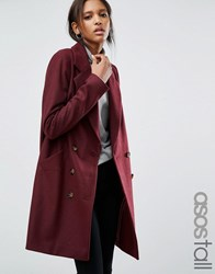 Asos Tall Pea Coat With Seamed Pockets Berry Red