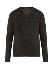 Jil Sander V Neck Wool Sweater Grey Multi
