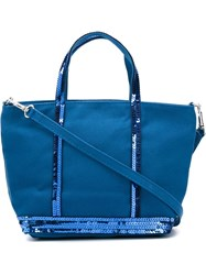 Vanessa Bruno Small Sequin Trim Shopping Tote Blue
