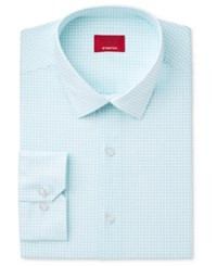 Alfani Men's Slim Fit Stretch Teal Bubble Print Dress Shirt Only At Macy's