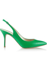 Casadei Snake Effect Leather Pumps Green