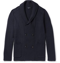 Dunhill Shawl Collar Double Breasted Wool Cardigan Midnight Blue