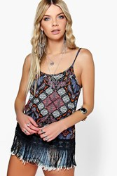 Boohoo Fringed Paisley Low V Back Tassel Hem Multi