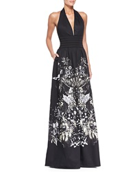 Roberto Cavalli Bonnard Foil Print Cotton Halter Gown 38 It 2 Us