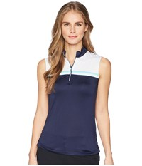 Callaway Color Blocked Sleeveless Polo Peacoat Blue