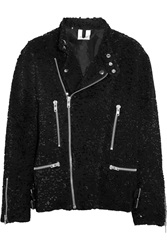 Ashish Sequined Cotton Biker Jacket Black