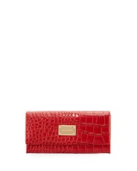 St. John Crocodile Embossed Leather Wallet Red
