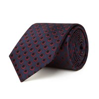 Chester Barrie Silk Tie Twill Circle Dot Navy