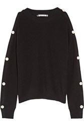 Helmut Lang Cutout Button Detailed Cotton And Cashmere Blend Sweater Black