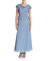 J Kara Beaded Cowl Neck Dress Dusty Blue