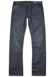 Replay Waitom Dark Blue Coated Slim Leg Jeans Indigo