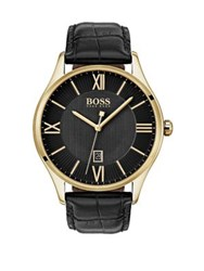 Hugo Boss Governor Textured Leather Strap Watch Black