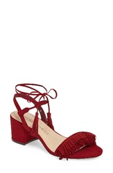 Athena Alexander Women's Fringed Ankle Wrap Sandal Red Faux Suede