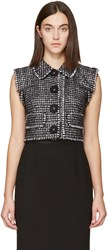 Dolce And Gabbana Black Tweed Cropped Vest