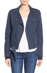 Women's Paige Denim 'Marjorie' Twill Moto Jacket Dark Ink Blue