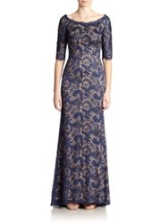 Jovani Off Shoulder Lace Gown Navy Nude