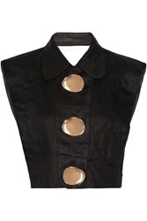 Opening Ceremony Embellished Cutout Linen Top Black