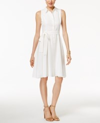 Tommy Hilfiger Belted A Line Shirtdress White