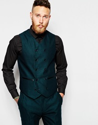 Asos Slim Double Breasted Waistcoat In Green