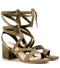 Gianvito Rossi Janis Low Suede Sandals Green