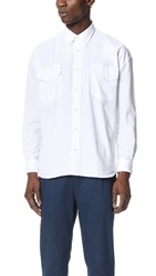 Camo Danglar Oxford Overshirt White