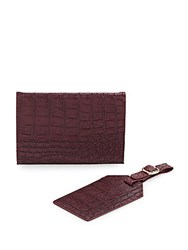 Kc Jagger Crocodile Embossed Faux Leather Passport Case And Luggage Tag Set Red