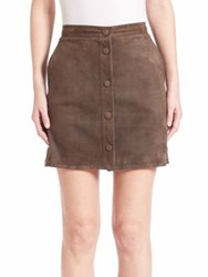 Helmut Lang Suede Button Down Skirt Marsh