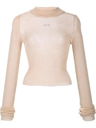 Off White Transparent Knit Jumper Nude Neutrals