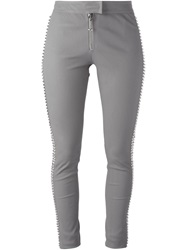 Philipp Plein 'Sheeba' Leather Trousers Grey